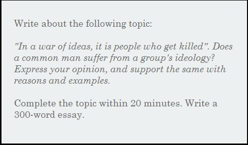Science Essay Examples Essay  In A War Of Ideas It Is People Who Get Killed Does A Common Man  Suffer From A Groups Ideology Custom Essay Papers also Essay In English Language Essay  In A War Of Ideas It Is People Who Get Killed Does A  Science Essay Topic